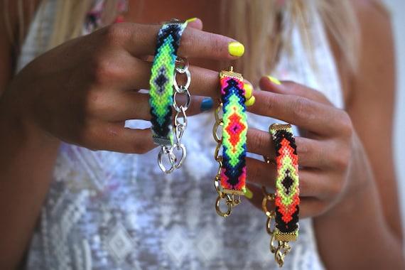 Chunky Chain Friendship Bracelet in Bright Neons.