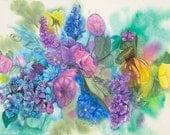 Color Burst Original Floral Watercolor Painting