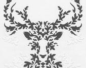 Paper Gray Deer - handmade papercut poster