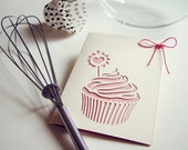 Strawberry Cupcake greetings card - hand cut card - 4 x 6 inches
