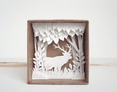 White Forest - shadow box papercut silhouette - natural style