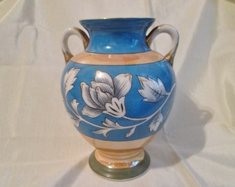 ANTIQUE NORITAKE VASE. Black Floral on Blue, Gold, Green Background. Wedding Gift, Collectible, Housewarming Gift, Mother's Day Gift