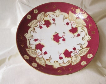 Antique Hand Decorated Cranberry and Gilt Porcelain Bowl. Christmas Gift, Kwanzaa Gift, Boxing Day Gift, Valentine Gift, Collectible
