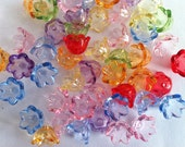 50 x transparent colourful acrylic flower tulip style beads 10mm