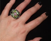STUNNING, BUBBLE Cocktail Ring with Swarovski Crystal Elements - Dome Shape, Gorgeous Green- Made To Order