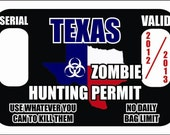 Zombie Killer / Hunting Permit Sticker, Texas TX