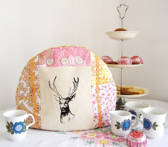 Hand made stag screen printed tea cosy
