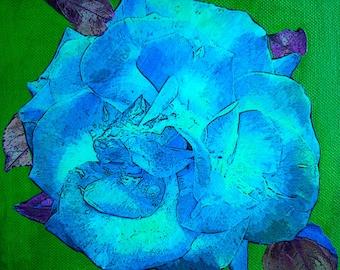 """The pink blue way """"color block"""" table unique collage 20 x 20 cm."""
