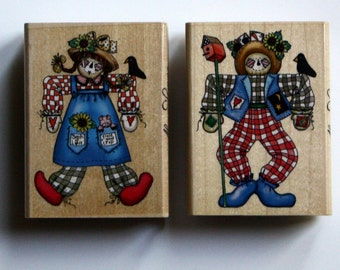 Patchwork Scarecrow Rubber Stamps Brand New