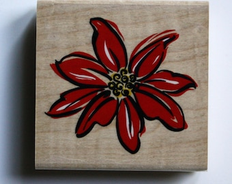 Christmas Poinsetta Rubber Stamp Brand New