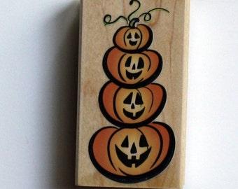 Halloween Tower of Pumpkins Rubber Stamp - Brand New