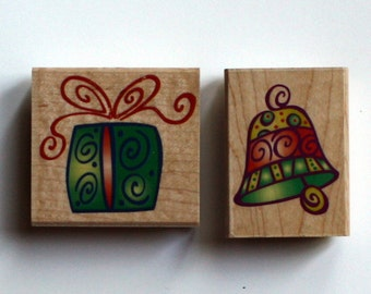Festive Gift and Festive Bell Christmas Ornament Rubber Stamps, Brand New