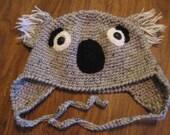 Crocheted Koala Beanie with earflaps and ties