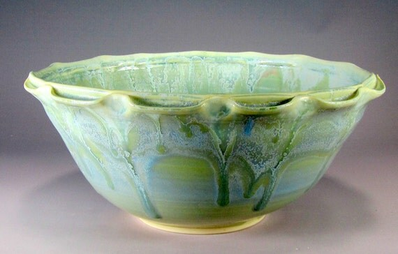 Handmade Serving Bown Green Ceramic Pottery Bowl Wheel Thrown