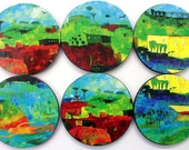 "Coasters featuring details from ""High Tide at Eggemogin"" by Jane Filer"