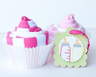 Baby Girl Legwarmers & Diaper Cupcake Gift Set - Set of 2
