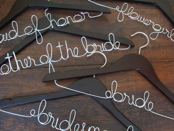 RESERVED for Ashley - Set of 5 Personalized Wedding Hangers (Bridal Party)