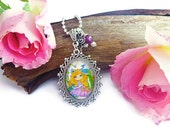 Art pendant necklace, Peacock Maiden artwork in antique silver bezel, glass cabochon, swarovski crystal and rose flower charm