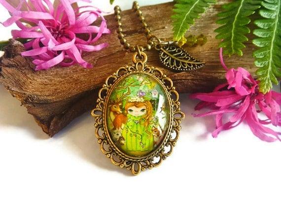 Princess art pendant necklace with antique bronze bezel, childrens necklace, girls necklace