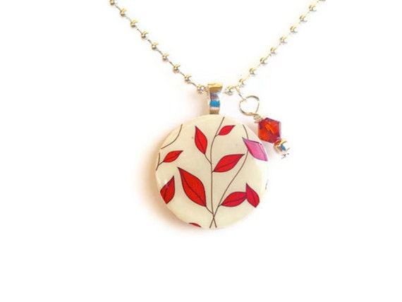 Wood pendant necklace with red leaves design and swarovski crystal charm