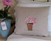 Handmade,hand embroidered rose cushion (decorative pillow) in natural / light beige linen