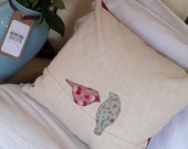 Handmade, appliqué, lovebirds design cushion (decorative pillow) in ivory linen with deep red chenille back