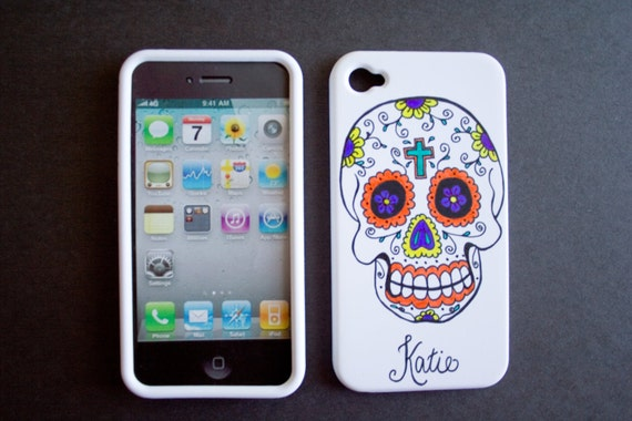 Personalized Sugar Skull iphone 4 / 4s cell phone cover case