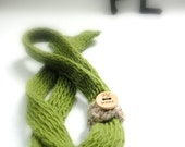 Knitted green extra long slim felted wool tie scarf by PL wear