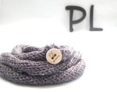 Knitted purple skinny extra long tube necklace infinity scarf by PL wear