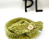 Knit and crochet apple green cotton double layered neck warmer scarf by PL wear - limited edition