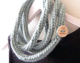Knitted necklace - smoky teal blue extra long skinny rope necklace infinity scarf