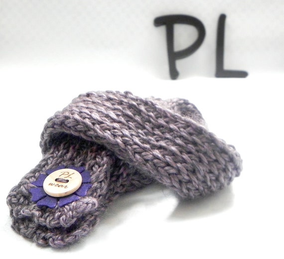 Knitted and crocheted luxurious purple double layered neck warmer scarf by PL wear