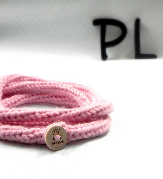 Knitted pink extra long skinny infinity scarf rope necklace by PL wear