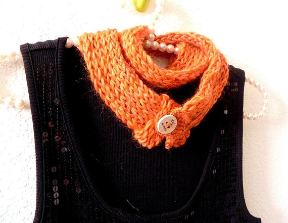 Skinny infinity scarf - Knit and crochet spicy orange double layered infinity scarf