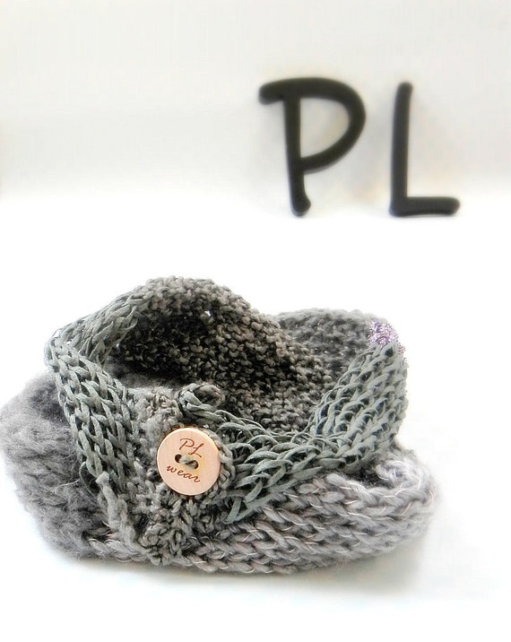 Knit and crochet textured gray double layered neck warmer scarf by PL wear
