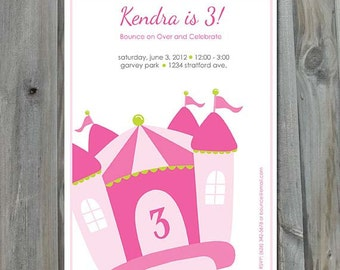 Bounce House Birthday Invitation - DIY, Party Printable, Personalized, Bounce House Party, Digital File, Girl Birthday, Pink Castle