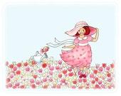 Shabby Chic, Nursery Art Print, Pink Dress, Tulip, flowers, Childrens room decor, 8x10 Whimscial illustration