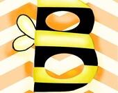Nursery Art, Alphabet Poster, B is for Bee, abc print, orange chevron, 8x10 children's art print baby room decor