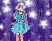Children's Art Print, Wish Upon A Star, Purple, Kawaii, 8x10, kids wall art, nursery decor whimsical illustration
