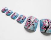 Fake Toenails, Japanese Cherry Blossom, Nail Art, False Nails, Toes, Artificial Toenails, Hand Painted Nail Art, Summer Nail Art, Pedicure