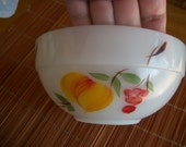"Retro Fire-King ""Gay Fad"" Hand Painted Fruit -  Bowl - 3"" Tall x 6""    10   Anchor Hocking"