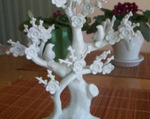 Vintage Andrea by Sadek- Porcelain Dogwood Tree w/ Doves Figurine - Perfect to Hang Jewelry