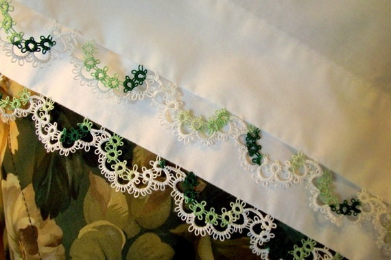 White Standard Pillowcases, Tatted Lace Edged, Bedroom Decor