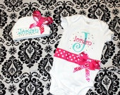 PERSONALIZED,  BLINGY Monogrammed Onesie, Bodysuit, Toddler Shirt with  Matching Beanie with bow Set  CUSTOM