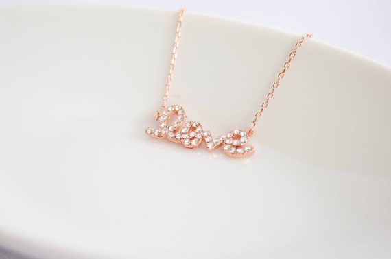 Love Necklace in Rose Gold / Pink Gold - Cubic Zirconia - Wedding, Bride, Bridal, Love, Anniversary