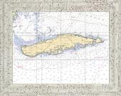 Isla de Vieques, Puerto Rico Nautical Chart Ceramic Tile Mural.  Kitchen Back Splash.  Shower Mural.