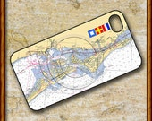 iPhone Cover, iPhone 4s, Custom iPhone case, Personalized iPhone, Nautical Chart, Monogrammed with Nautical Flags or Sea Glass, Sarasota, FL
