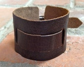 """large wide adjustable 2"""" leather  buckle cuff - matte brown"""