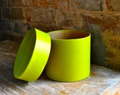large bright mod green round cardboard gift box 5' x 4.25' x 1.5'