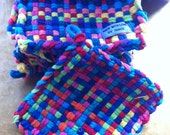 Rainbow Colored Pot Holder hand woven with loop for hanging. Made with love by Renee